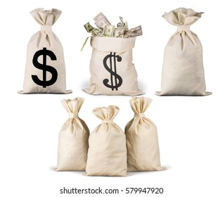 Six money bag on white background.