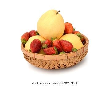 Six nashi pears arranged in triangle shape on white background.