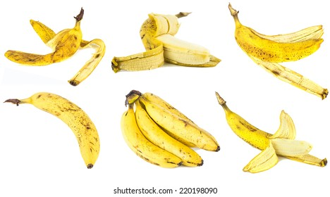 six old bananas on an isolated white background
