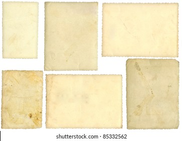 Six old photos, back side, isolated on white