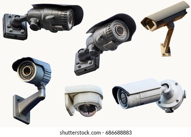 Six outdoor CCTV cameras. Isolated on white background