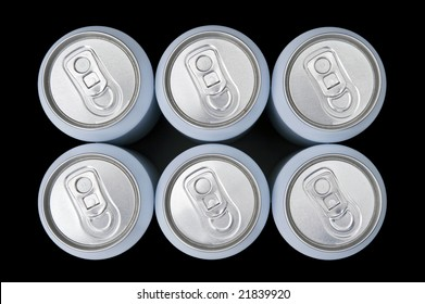 A six pack beverage cans seen from above with a slight perspective