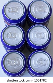 Six pack of cold drinks cans