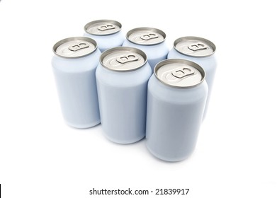 A six pack of off-white beverage cans on a white background