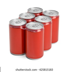 Six Pack of Red Soda Cans with Copy Space Isolated on White Background.