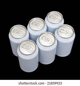 A six pack of unprinted beverage cans on a black background