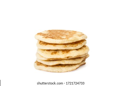 Six pancakes isolated on a white background