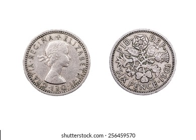 Six pence  coin old and obsolete from the U.K after the advent of Decimalization on the 15th of February 1971.