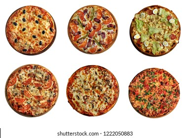 Six pizza set for menu.1 shrimp, olives 2 hunting sausages, hot pepper 3 quail eggs, cherry tomatoes 4 mushrooms, cheese 5 ham 6 sweet pepper, green onions