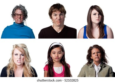 Six portraits of upset people, most showing anger