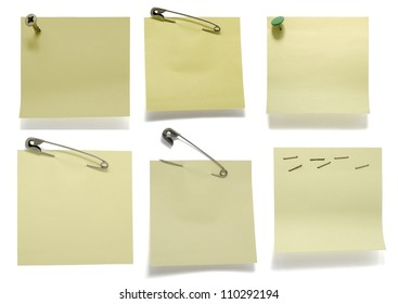 Six post its on white with drop shadow