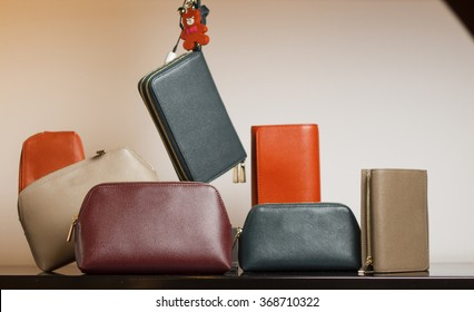 Six purses and clutches are in the composition on the shelf.