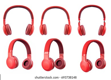 six red headphone isolate on white background.