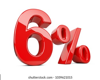 Six red percent symbol. 6% percentage rate. Special offer discount. 3d illustration isolated over white background.