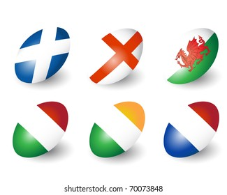 Six rugby balls representing the nations of England, Scotland, Wales, Ireland, France & Italy. Also available in vector format.