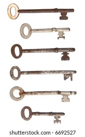 Six rusty old keys isolated on white.