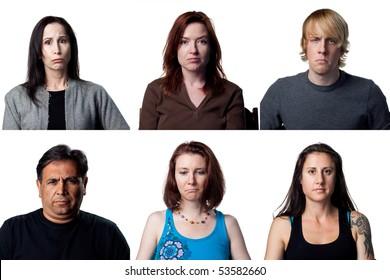 Six sad portraits, people are looking depressed