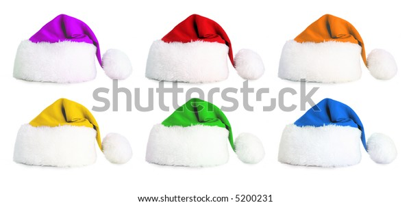 Six santa hat in the colors of the rainbow on a white background - huge file