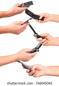 Six senior hands hold mobile phones isolated on white, collage