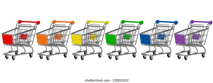 Six shopping carts in rainbow colors in a row