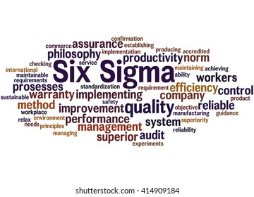 Six Sigma -  improve the quality, word cloud concept on white background.
