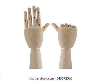 Six sign wood hand model