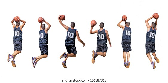 six silhouettes of basketball players