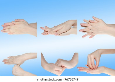 six steps of professional medical hand washing gesture isolated
