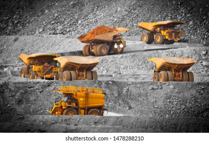 Six trucks in a busy modern gold mine in Kalgoorlie, Western Australia. Spot color. One water truck and five large haul truck transport gold ore from the Super Pit, Open cast mine. - All logos removed