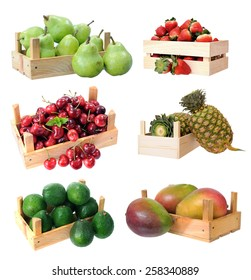 six types  of fruit in crate isolated on white