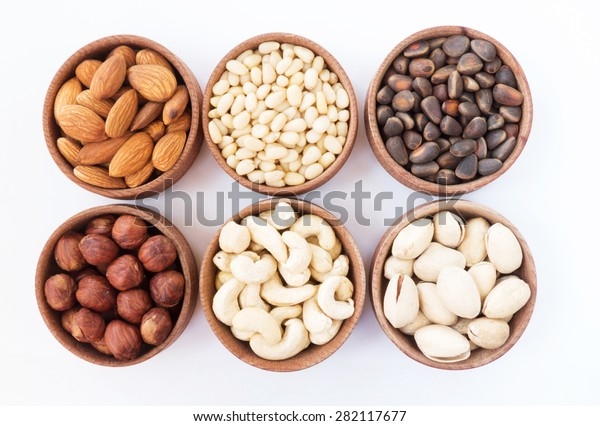 Six Types Nuts Round Wooden Form Stock Photo (Edit Now