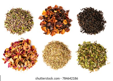 Six types of tea on a white background, isolated.