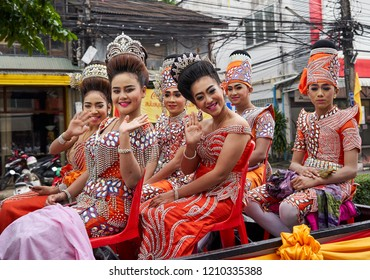 Six very nice Thai transsexuals in national costumes, Vegetarian Festival, Phuket, Thailand,16.10.2018