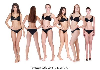 Six women in black underwear pose isolated on white background, Collage, (two models)