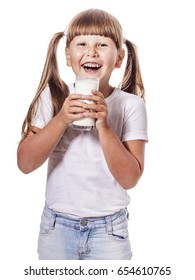 Six years Girl holding glass of milk isolated on white