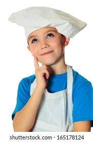 Six years old cook boy isolated on white