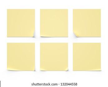 six yellow sticker on a white background