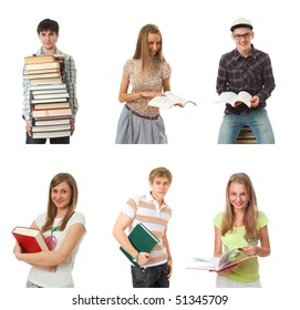 The six young students isolated on a white background