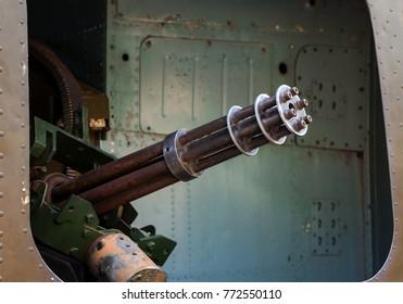 six-barrel rotary machine gun in the door helicopter