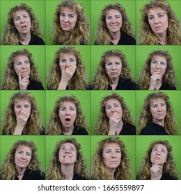 sixteen different facial expressions of a mature blond curly woman in front of neutral green background
