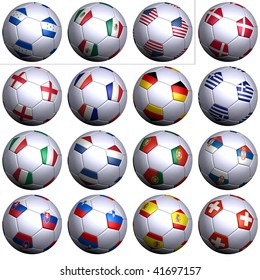 Sixteen soccer balls of Nations competing in the South Africa Soccer World Cup 2010, isolated. North America, Central America with three teams and Europe with thirteen teams in alphabetical order.