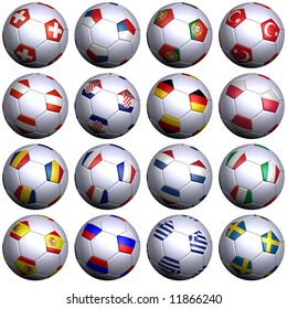 Sixteen soccer-balls with the flags of all participating teams in the UEFA 2008. Hi-res 3D render with clipping path.