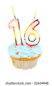 Sixteenth birthday cupcake with blue frosting on a white background