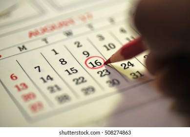 Sixteenth day of month/ Month Calendar/ Planning mark on the date