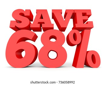 Sixty eight percent off. Discount 68 %. 3D illustration on white background.