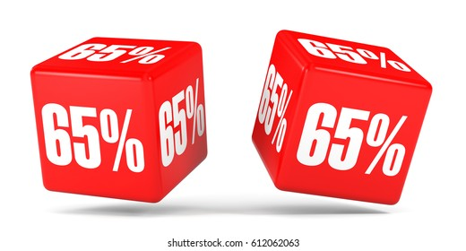 Sixty five percent off. Discount 65 %. 3D illustration on white background. Red cubes.
