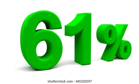 Sixty one percents 3D text, with big fonts isolated on white background. 3D rendering.