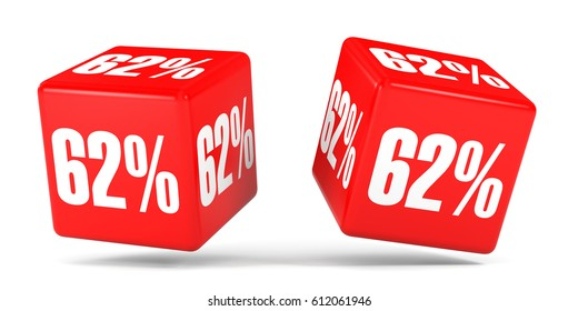 Sixty two percent off. Discount 62 %. 3D illustration on white background. Red cubes.