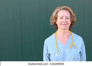 Sixty years old healthcare worker close up