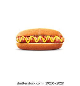 sizable hotdog with tomato sauce and mayonnaise stuffed with a large sausage